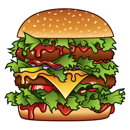 sandwiches: Detailed illustration of a tasty burger that has got it all.