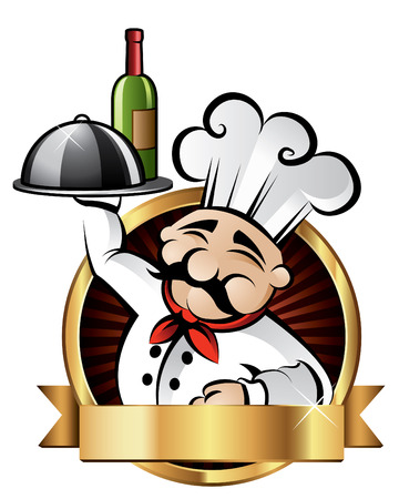 Chef Alegre sirve la cena en un restaurante - sala para su texto Vectores