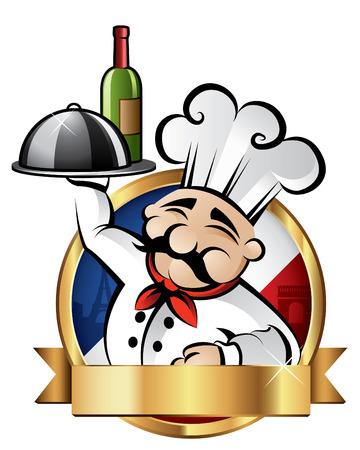 Chef Alegre sirve la cena con París en el fondo - habitación para el texto