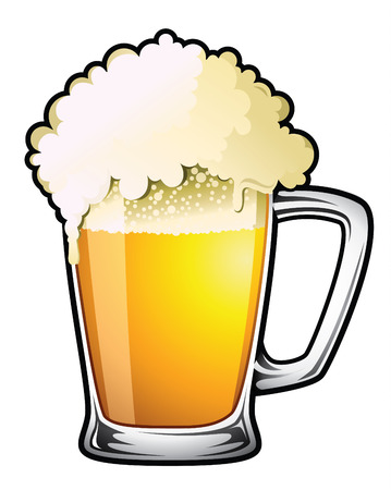 draught: Illustration of a large overflowing draught beer Illustration