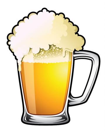 copas: Ilustraci�n de una cerveza de barril desbordante grande