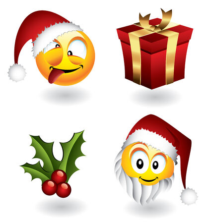 Set of vector christmas emoticons and elements Vector