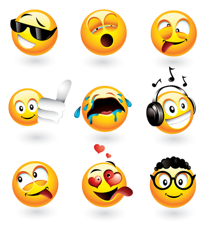 geeky: Set of nine smilies with different expressions