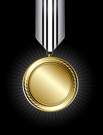 Illustration of a shiny gold medal on a black background
