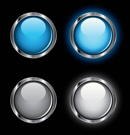 rollover: Shiny rollover web buttons on a black background