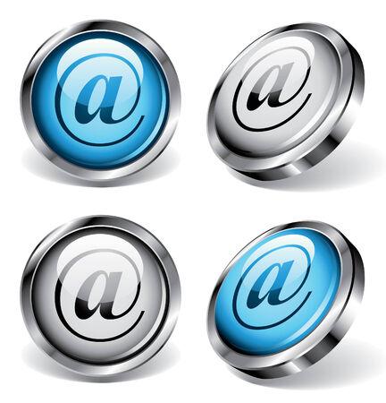 arobase: Four shiny web buttons with arobase symbols Illustration