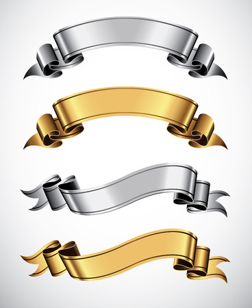 vector ribbons: Set of gold and silver vector ribbons for your text