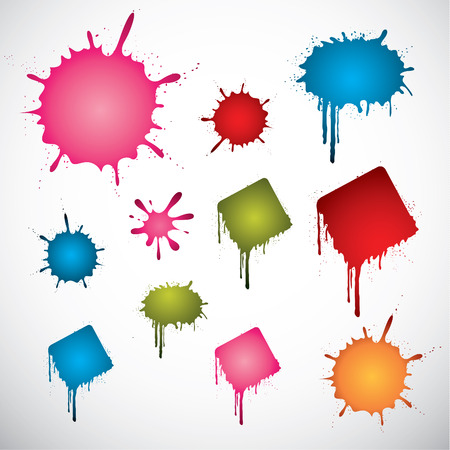 blob: Set of various colored vector ink spots