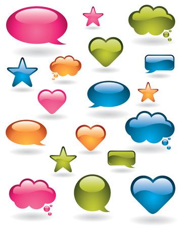 Shiny bubbles, stars and heart shapes in many colors Stock Vector - 6449072