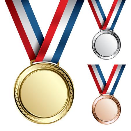 conquistando: Tres detallan medallas de vector con espacio para sus textos o im�genes - oro, plata y bronce