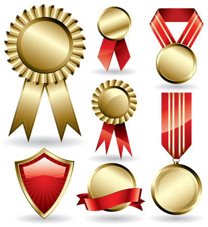 Set of shiny red and gold award ribbons Vector