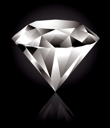 diamante negro: Diamante brillante y luminoso sobre un fondo negro Vectores