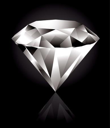 diamante: Diamante lucido e brillante su sfondo nero Vettoriali