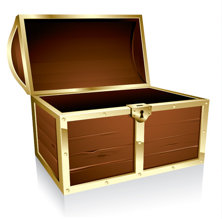 wooden box: Illustration of a wooden treasure chest with nothing in it  Illustration