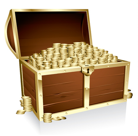 gold treasure: Wooden treasure chest loaded with golden coins