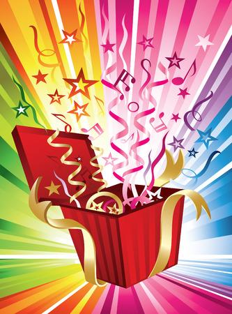 Feliz anivers�rio! Um projeto festivo e multicolorido com confetes saindo de um presente Ilustra��o