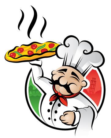 pizza: Illustratie van een Italiaanse chef-kok