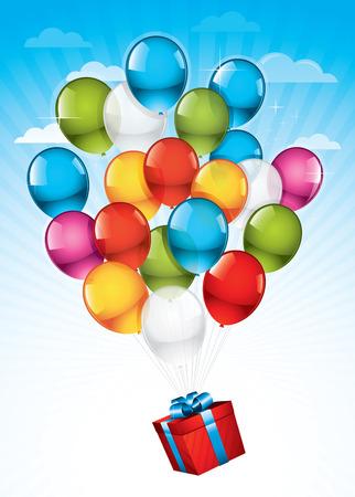 ballons: EPS10 : Bo�te cadeau rouge transport�s vers le ciel par les ballons color�s