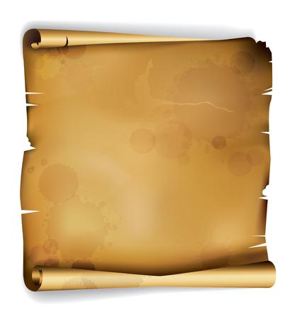 EPS10: Oude rollen ragged perkament met vlekken van eeuwen Vector Illustratie