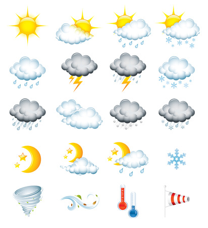 hot temperature: Set of 20 high quality weather icons Illustration