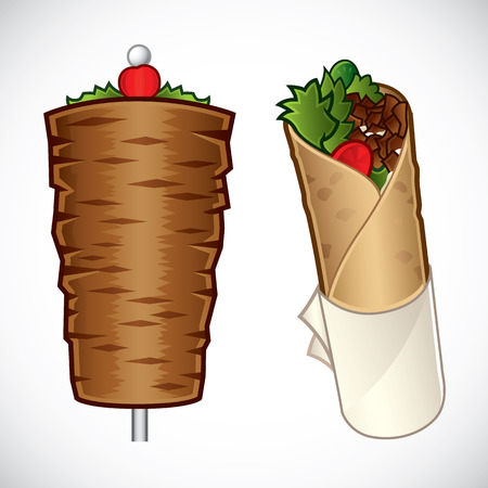 Vector illustration of kebab and a kebab roll