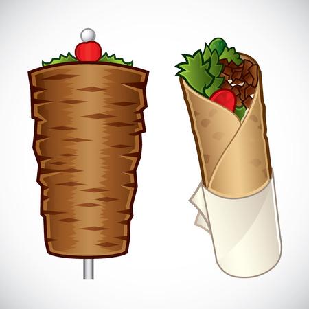 Vectorillustratie van kebab en een kebab roll Vector Illustratie