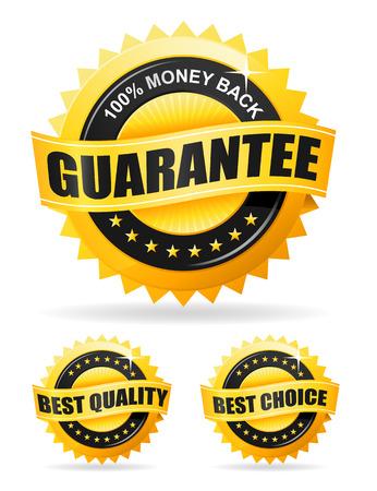 guarantee seal: Conjunto de tres etiquetas de oro - garantizar dinero, mejor calidad y la mejor opci�n Vectores