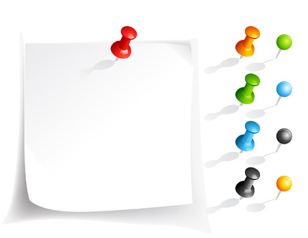 note paper and pins in various colors Illustration