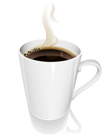 kroes: illustratie van een hete dampende kop koffie Stock Illustratie