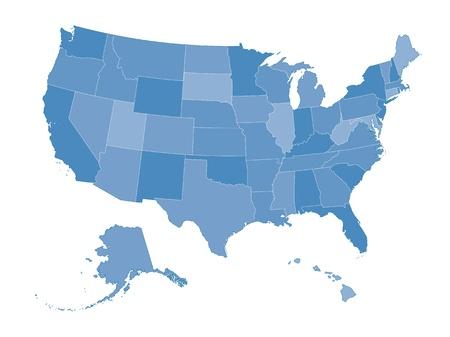 Mapa muy detallado de los Estados Unidos. Todos los Estados son elementos independientes y capas en orden alfabético Ilustración de vector