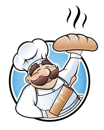 panadero: Personaje de dibujos animados de panadero feliz presentando un pan reci�n horneado Vectores