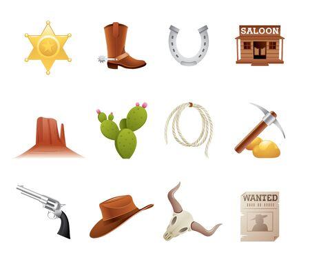 vaquero: Conjunto de 12 iconos del viejo oeste estadounidense