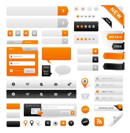 button: Large set of icons, buttons and menus for websites Illustration