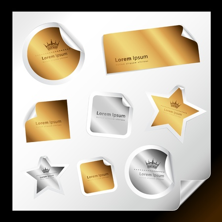 gold star: Set of various silver and gold stickers for your text