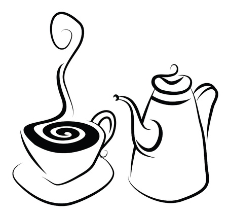 coffeepot: Simple stylistic illustration of a coffee set
