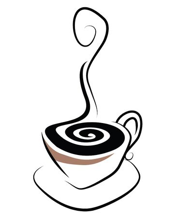 stylistic: Simple stylistic illustration of a steaming cup of coffee