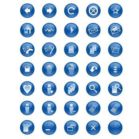 Jogo dos �cones para sites e comunidades on-line Ilustra��o