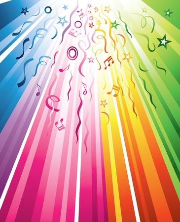 serpentinas: Un diseño festivo multicolor con serpentinas, las notas y las estrellas