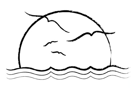 ocean sunset: A simple illustration of a sunset with grungy lines