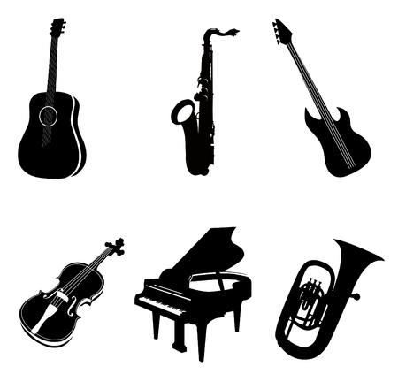 saxophone: Los contornos de los diversos instrumentos Vectores