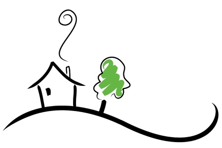 simple life: House on a Hill Illustration