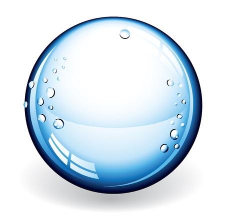 gota agua: Un ejemplo de una bola de cristal azul con gotas de agua Vectores