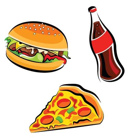 Ilustración vectorial de la comida rápida varias (hamburguesas, refrescos de cola y pizza rebanada)