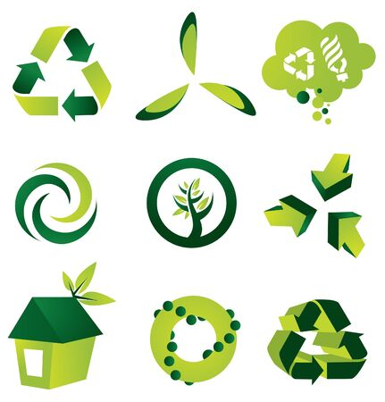recycling symbol: A set of nine environmental vector design elements