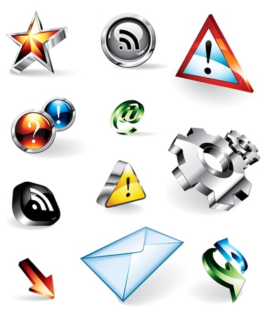 Set of 11 shiny vector icons for websites: RSS feed, contact, warnings, FAQ, refresh, add as favourite Vector