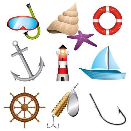 Set of 9 sea related icons Illustration