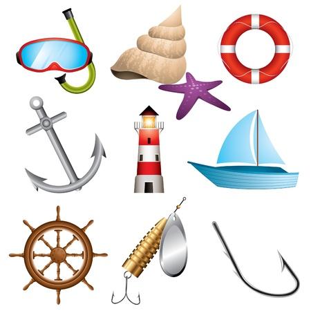 ruder: Set von 9 Meer verbundene Symbole