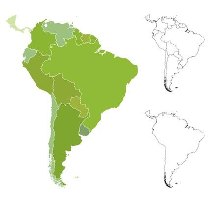 Zeer gedetailleerde kaart van de Zuid-Amerikaanse landen. Vector Illustratie