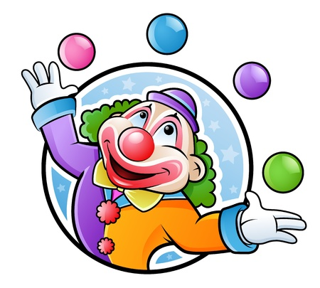 Happy clown juggling with balls in many colors Vector