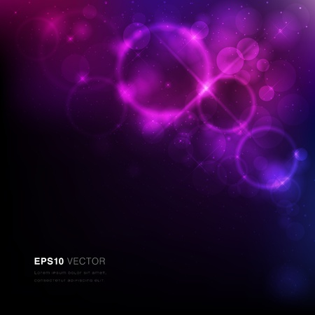 Vector EPS10 illustration of a nebula with stars and vibrant light Vector